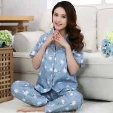 Harga Kain Katun Kardigan Perempuan Layanan Rumah Musim Panas Kain Katun Baju Tidur Lobak Kelinci Kecil Lengan Pendek Merk Other
