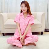 Spesifikasi Kain Katun Kardigan Perempuan Layanan Rumah Musim Panas Kain Katun Baju Tidur Merah Muda Kotak Kotak Lengan Pendek Baru