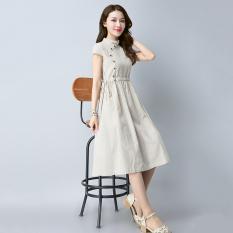 Kain Linen Ramping Elegan Setengah Panjang Model Cheongsam Gaun (Krem) Baju Wanita Gaun Wanita Gaun Wanita
