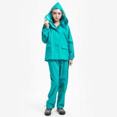 Kain Oxford Pria Tahan Udara Seluruh Tubuh Jas Hujan Celana Hujan (Hijau (Model Wanita