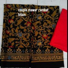 kain satin bali murah COUPLE keluarga motif mawar rambat hitam brokat merah