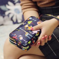 Model baru Kain dompet panjang wanita tas tangan tiga lapis ritsleting kain kanvas Layar Besar tas