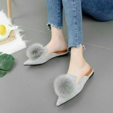 {kaisar] sepatu wanita flatshoes pompom abu