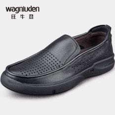 Kaki Kulit Asli Putaran Berlubang Model Crocs Sandal Summer Sepatu Kulit (Hitam)