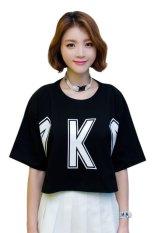 Harga Kakuu Basic Kaos Krop Korea K Letter Cropped Tee Hitam Paling Murah