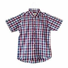 Kalibre Kemeja Kotak-kotak Pria Lengan Pendek Kemeja Jokowi Ahok Men Plaid Short Sleeve Shirt Hem