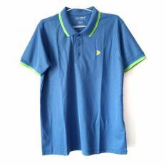 Kalibre Men Polo Shirt Pria Pique Microfiber Yarn Warna Kombinasi Biru Muda Strip Hijau Stabilo Hijau Neon