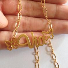 Kalung Nama Grafir Lapis Emas (Bebas Ukir sesuai namamu)