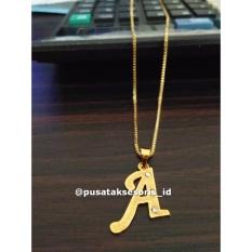 Kalung Nama Grafir Lapis Emas, kalung cewek, kalung titanium, kalung korea (Bebas Ukir sesuai namamu)