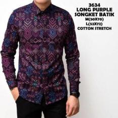Kameja Batik Songket Purple Kerja Kantor Panjang Terbaru