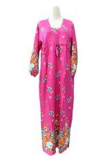 Kampung Souvenir - Gamis Bali V Neck Flowers - Pink Fanta