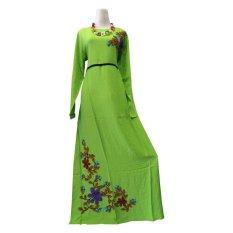 Obral Kampung Souvenir Gamis Orchid Bordir Timbul Green Murah