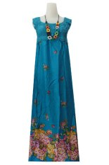 Harga Kampung Souvenir Long Dress Miyabi Biru Tosca With Flowers Merk Kampung Souvenir