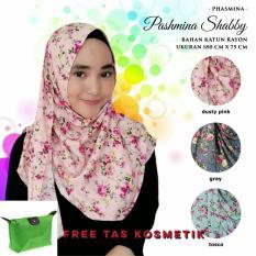 Kananta Hijab Jilbab Pasmina Instan Jilbab Pasmina Hijab Pasmina Shabby Kain Katun Rayon - Dusty Pink - Grey - Tosca
