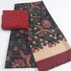 kanaya - kain satin lembaran kebaya bali setelan motif batik burung - ohitam