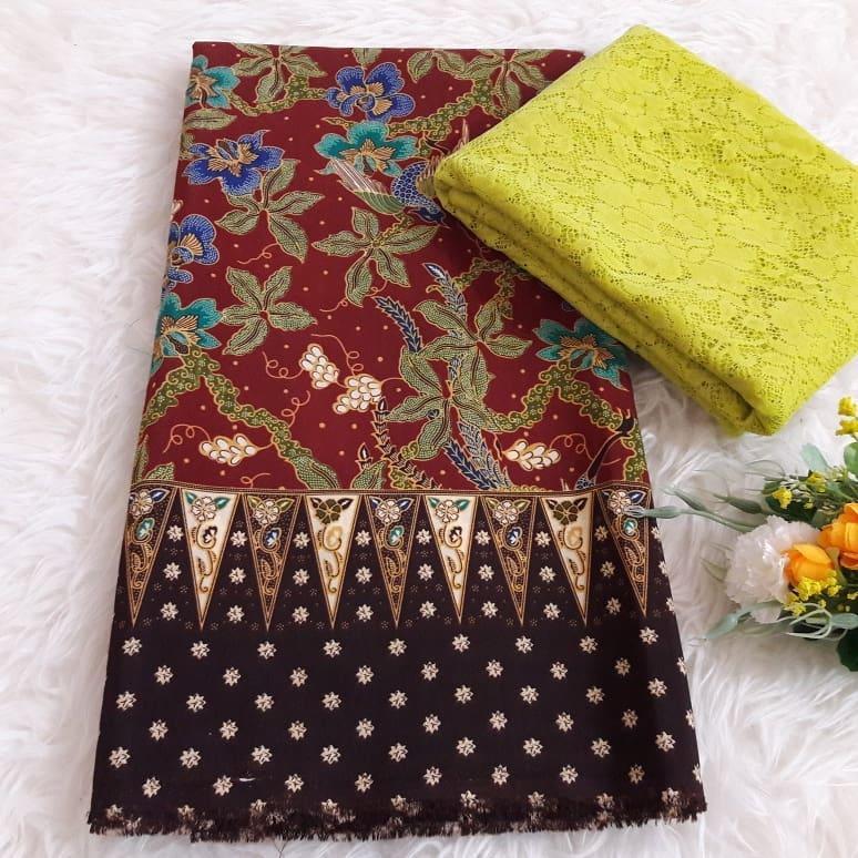 kanaya - setelan kain satin batik milea ukuran 2mtr*1,15mtr dan brokat lembaran