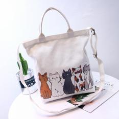 Kanvas Kanvas Warna Solid Muda Ramah Lingkungan Tas Jinjing Wanita Tas Bahu (Lima Kucing Kecil)