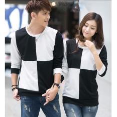 Agen Kaos Couple Lengan Panjang - Baju Pasangan  Kapel - Baju Kembar Catur LP Putih Hitam