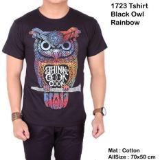 Kaos Cowok Pria Pendek Distro Hitam Owl Rainbow