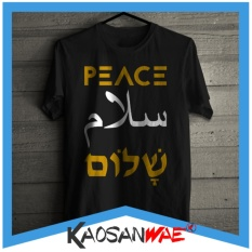 Iklan Kaos Damai Peace Inggris Islami Arab Salam Shalom Hebrew Tshirt Kaosanwae