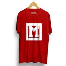 Spesifikasi Kaos Distro Alphabet M Merah Lengan Pendek Terbaru