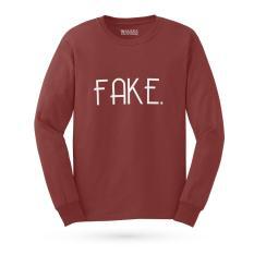 Jual Cepat Kaos Distro Fake T Shirt Lengan Panjang Maroon