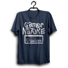 KAOS DISTRO GAMER BY NATURE NITENDO BAJU MURAH GAME COWOK CEWEK GROSIR