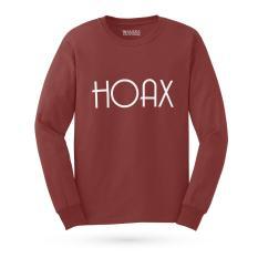 Kaos Distro HOAX T-Shirt Lengan Panjang - Maroon