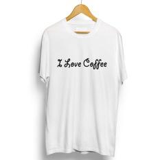 Promo Kaos Distro I Love Coffe T Shirt Putih Di Banten