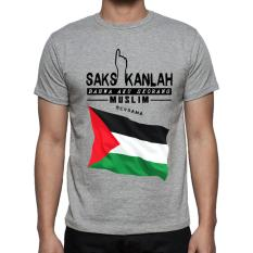 Kaos Distro kaos 3d kaos pria Muslim Palestine