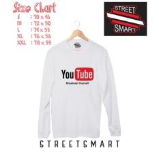 Kaos distro tangan panjang youtube cotton 30s putih