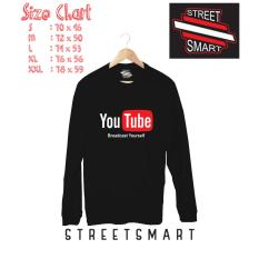 Beli Kaos Distro Youtube Tangan Panjang Cotton Combed 30S Hitam Murah