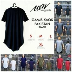 Kaos Gamis Pakistan Lengan Pendek - Baju Muslim Pria - Baju Koko Pria - Gamis Pria - Baju Muslim Syari