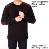 Harga Kaos Lengan Panjang Pria Leather Patch Kaos Sweater Hitam Polos Leather Patch Brown Baru