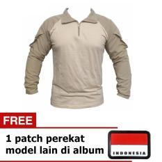 Harga Kaos Lengan Panjang Tactical Cream Free 1 Patch Paling Murah