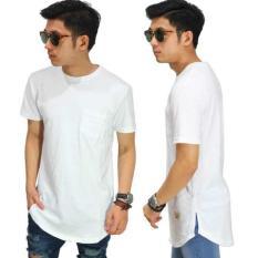 Kaos Longline T-Shirt New Basic White/ Baju Casual/ Kaos Fashion Pria - Gocks4