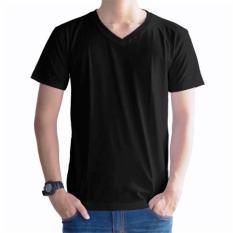 Kaos Oblong Polos Lengan Pendek V-Neck Unisex T-Shirt - Hitam