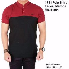 kaos  polo lacost maroon mix black