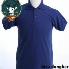 Kaos Polo Polos Pria Baju berkerah murah berkualitas poloshirt kaos kerah cowok cewek polo shirt-Biru Dongker