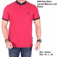 Jual Cepat Kaos Polo Shirt Lacost Maroon List Black