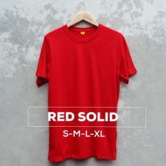 Kaos Polos / Baju Distro / Oblong Red Solid Keren / Merah - Els6gq