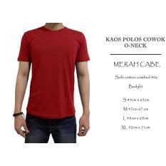 Kaos Polos Cowok Cotton Combed 40S Merah Cabe Oneck - Aj4yjj