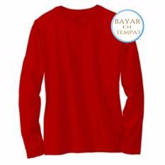 Harga Kaos Polos Oneck Lengan Panjang Cotton Combed Merah Terang Unisex Paling Murah