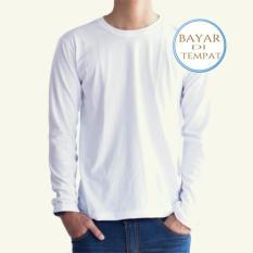 Jual Kaos Polos Oneck Lengan Panjang Cotton Combed Putih Unisex Palemo Murah