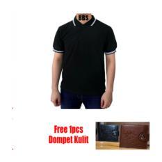 Diskon Produk Kaos Polos Polo Shirt Hitam Gratis Dompet Kulit