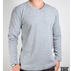Kaos Polos Pria - V-neck - Shirt Cotton Combet - Lengan Panjang - All Size (Ukuran L)