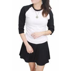 Kaos Polos Putih Lengan Hitam Wanita Cotton