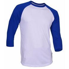Kaos Polos Raglan - Putih/Biru
