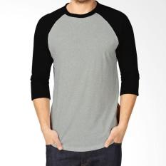 Kaos Polos Reglan Cotton Combed - Lengan 3/4 Pria dan Wanita Dasar Abu abu lengan Kombinasi