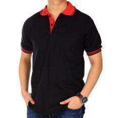 Beli Kaos Poloshirt Pria Hitam Kerah Kombinasi Merah Murah Indonesia